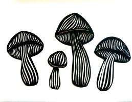 paper cut mushrooms